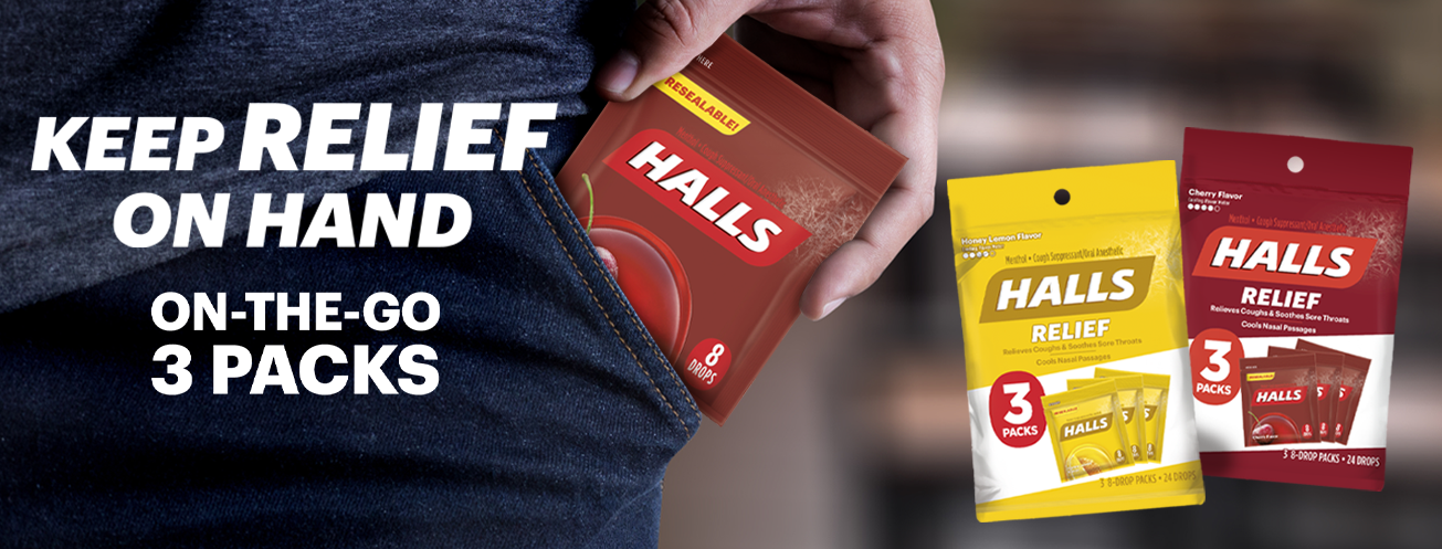 HALLS the temporary relief of coughs and sore throats